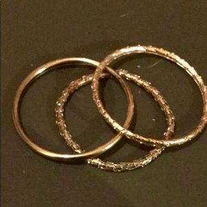 Bundle Of 3 Gold Bangle Bracelets Vintage Unique